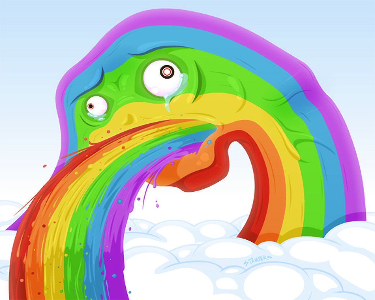 Поздравление подружке, смешные картинка с радугой